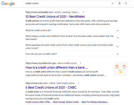 A search for credit unions brings in results from all around the country.