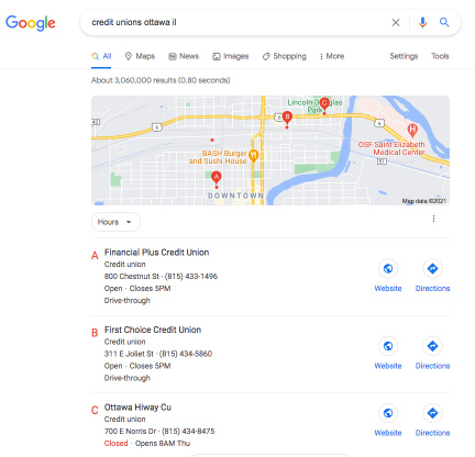 Google Local Pack Results for Credit Unions in Ottawa IL