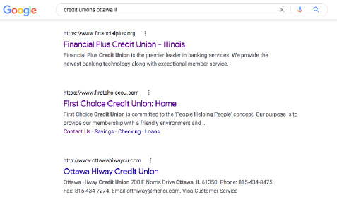 A search for credit unions near XYZ brings in local results.