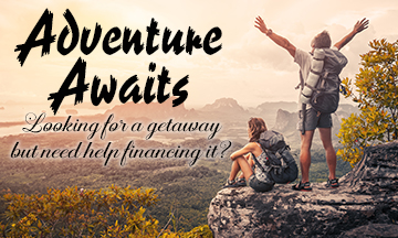 Adventure ad using poor font selection