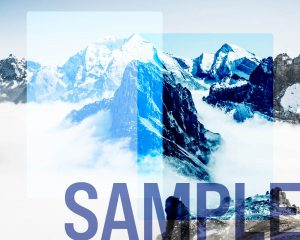 Blend modes in a modern browser overlay in different colors and intensity of blue over a mountain background.