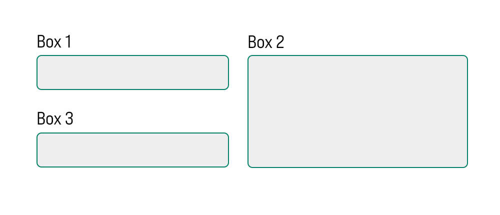 3 different size boxes lining up event next to each other