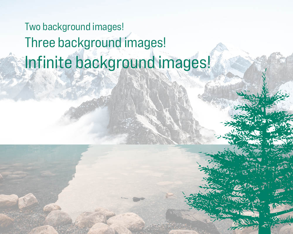 An image of a mountain, an image of a lake, and an illustrated pine tree all serving as backgrounds for one element of code.