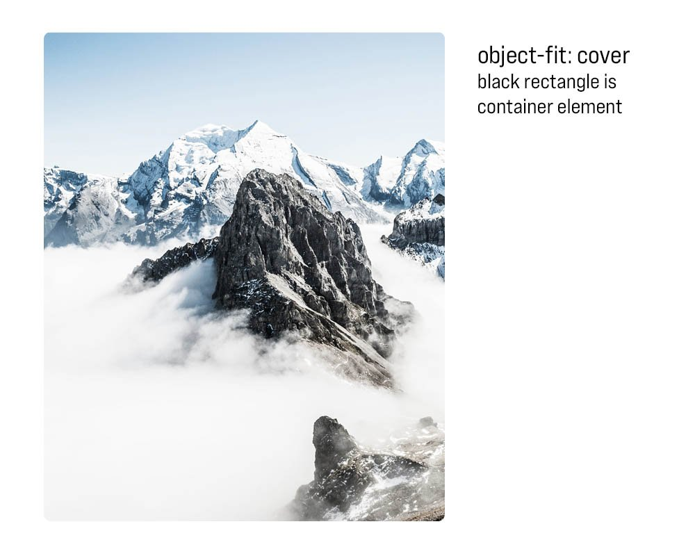 Object Fit Cover is a black rectangle that is the container element. The black rectangle is not visible with an image of a mountain in the same element.