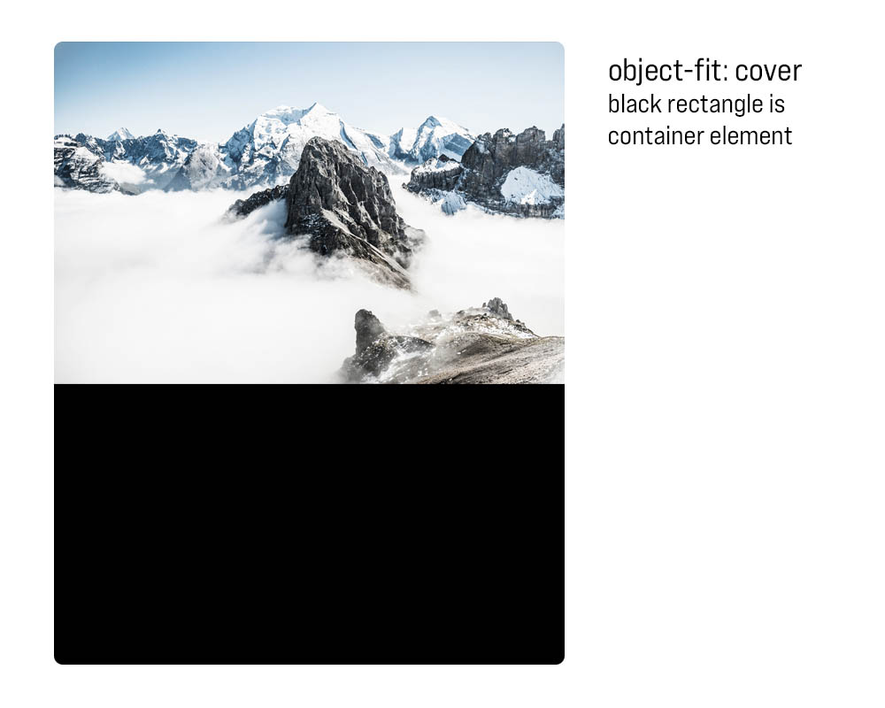 Object fit with a black rectangle as a container element. The rectangle is visible under an image of a mountain.