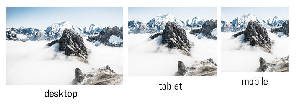 3 photos of a mountain resized at different proportions to fit a desktop, tablet or mobile screen
