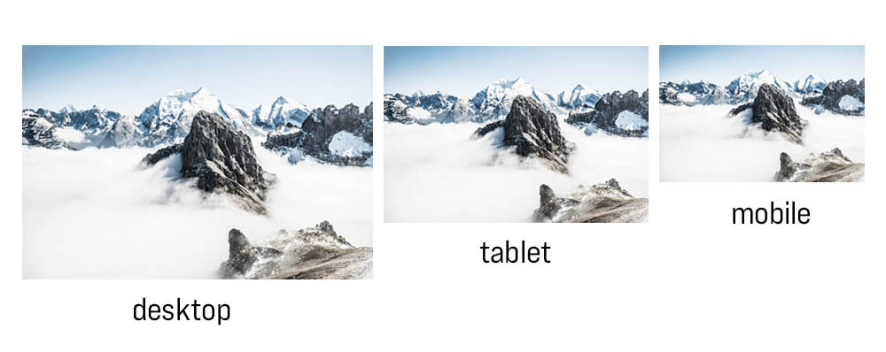 3 photos of a mountain resized to the same proportions at different screen levels for desktop, tablet and mobile devices.