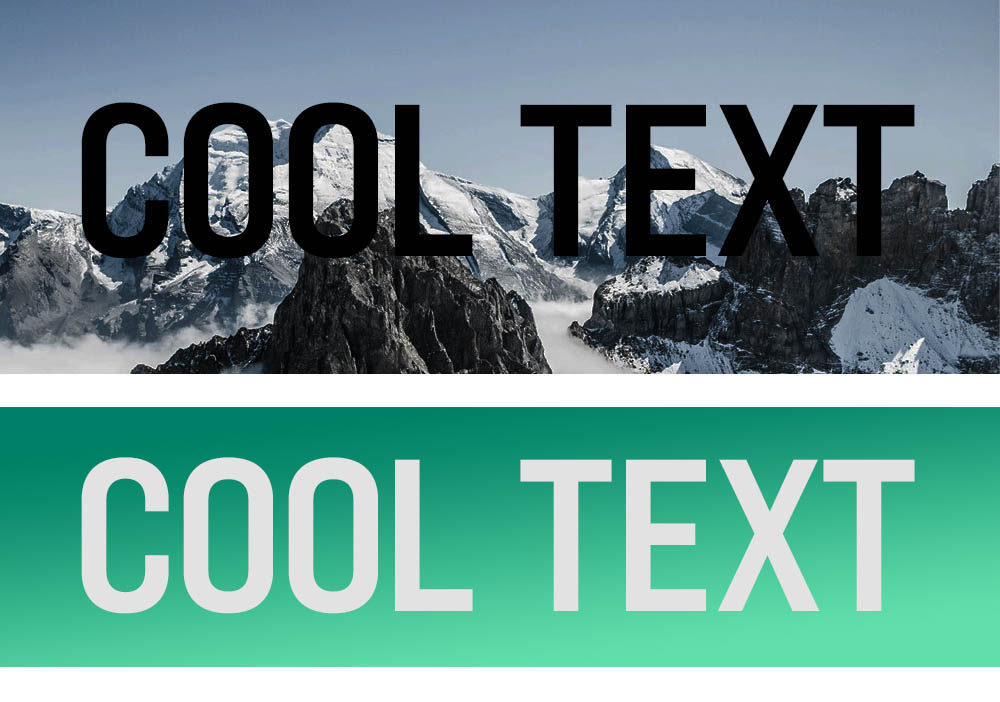 """Internet Explorer overlays the words """"Cool Text"""" over a mountain image and green gradient background."""