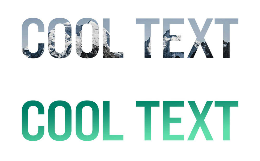 """An image of a mountain is contained within text that says """"Cool Text"""". A green gradient is coded into text that says """"Cool Text""""."""