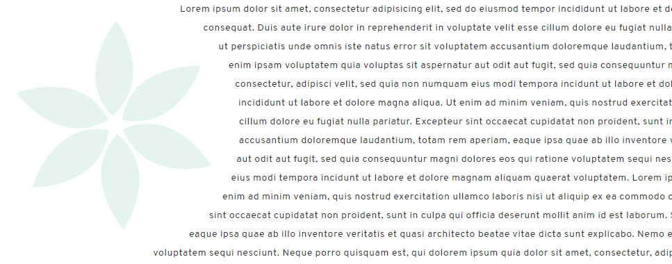 A paragraph of text curves around an image