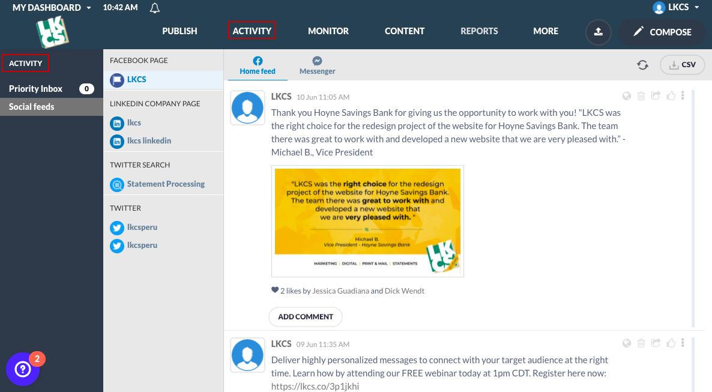 Social Media Management Tool Activity View