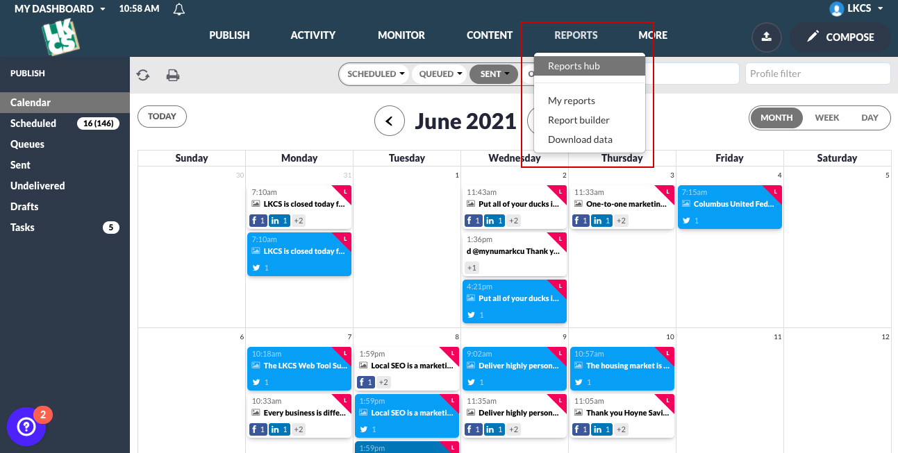 Social Media Management Tool Reports Menu Name